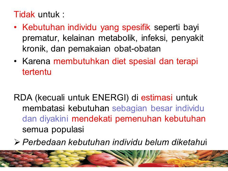 RDA Hanya untuk orang sehat Fokus untuk memenuhi diet yang bervariasi luas Bukan dipakai dasar pemberian suplemen atau fortifikasi dari suatu makanan tunggal AKG di Indonesia, ditetapkan th 1968 (Widyakarya PG,LIPI), ditinjau tiap 5 th Perhatikan berikut : RDA untuk laki-laki (bandingkan dengan AKG wanita)