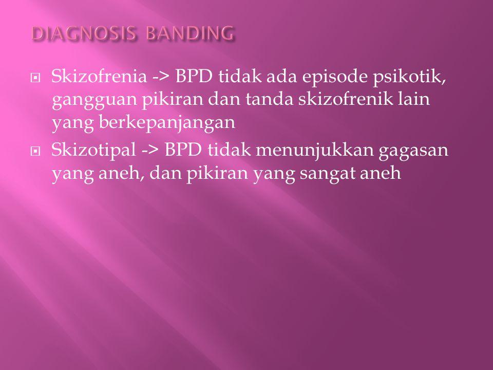  Skizofrenia -> BPD tidak ada episode psikotik, gangguan pikiran dan tanda skizofrenik lain yang berkepanjangan  Skizotipal -> BPD tidak menunjukkan gagasan yang aneh, dan pikiran yang sangat aneh
