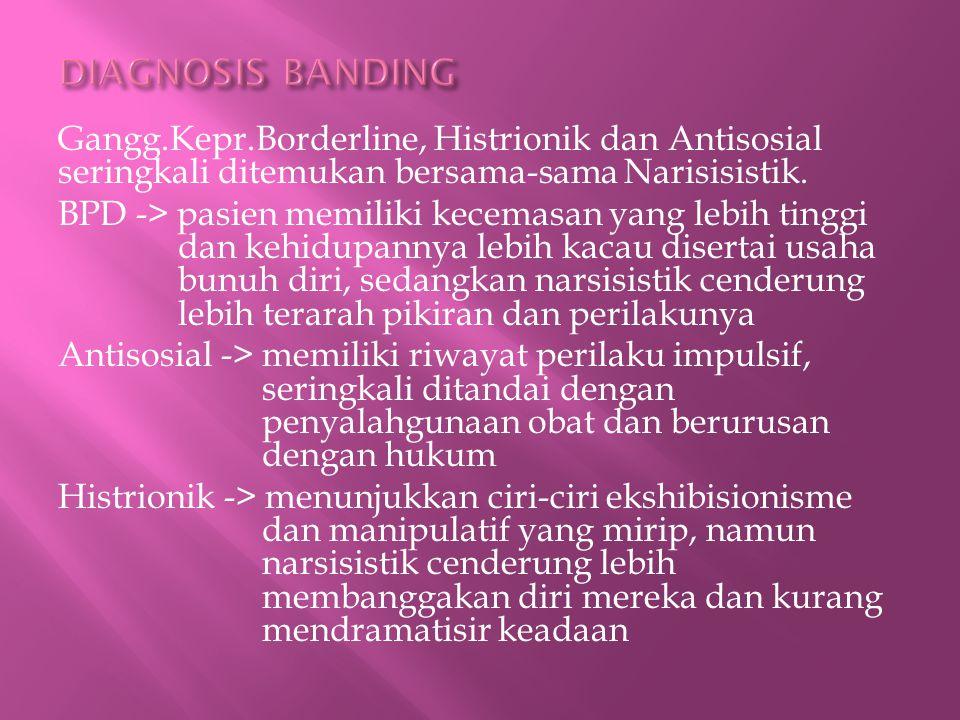 Gangg.Kepr.Borderline, Histrionik dan Antisosial seringkali ditemukan bersama-sama Narisisistik.