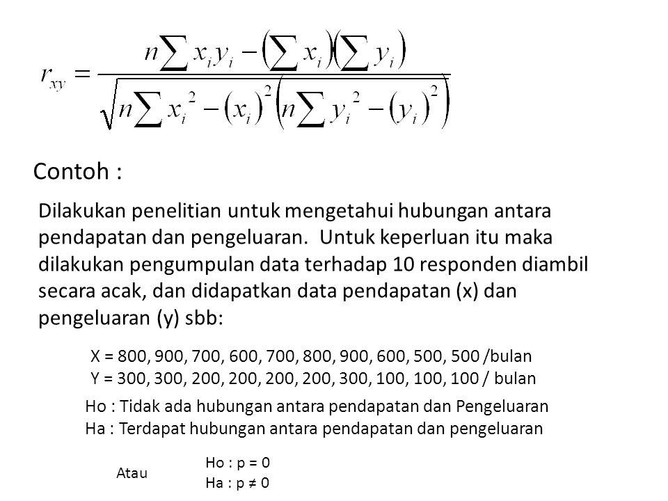 Contoh : Dilakukan penelitian untuk mengetahui hubungan antara pendapatan dan pengeluaran. Untuk keperluan itu maka dilakukan pengumpulan data terhada