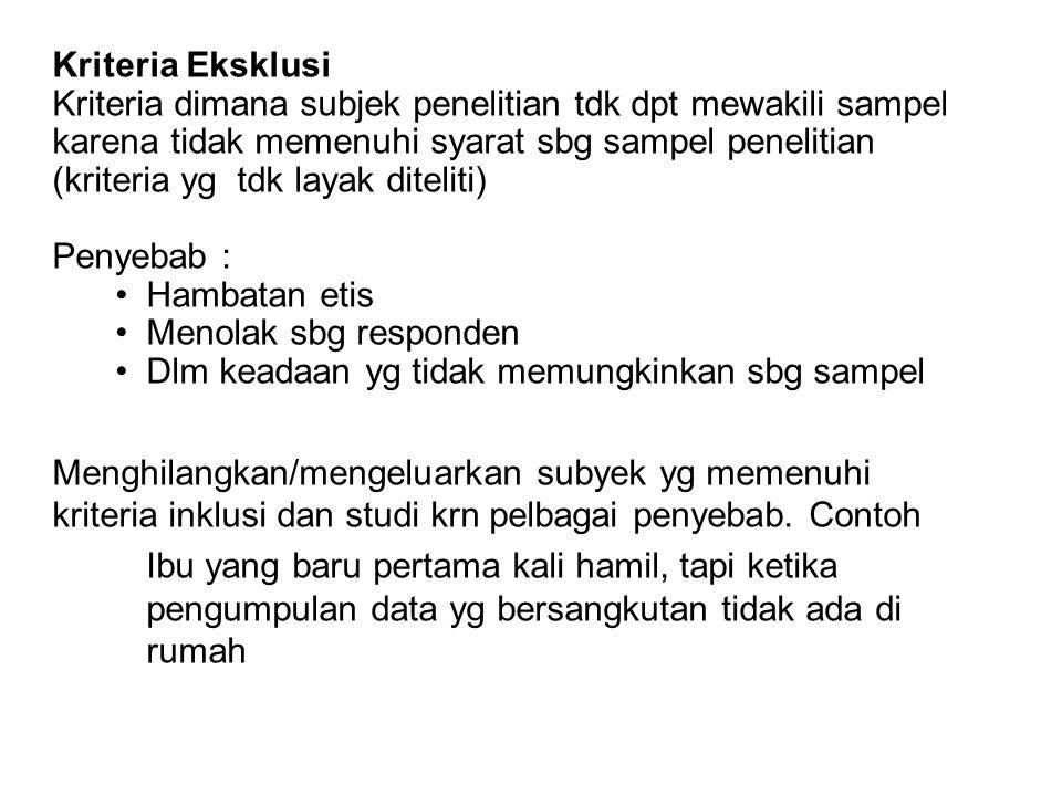 Kriteria Eksklusi Kriteria dimana subjek penelitian tdk dpt mewakili sampel karena tidak memenuhi syarat sbg sampel penelitian (kriteria yg tdk layak