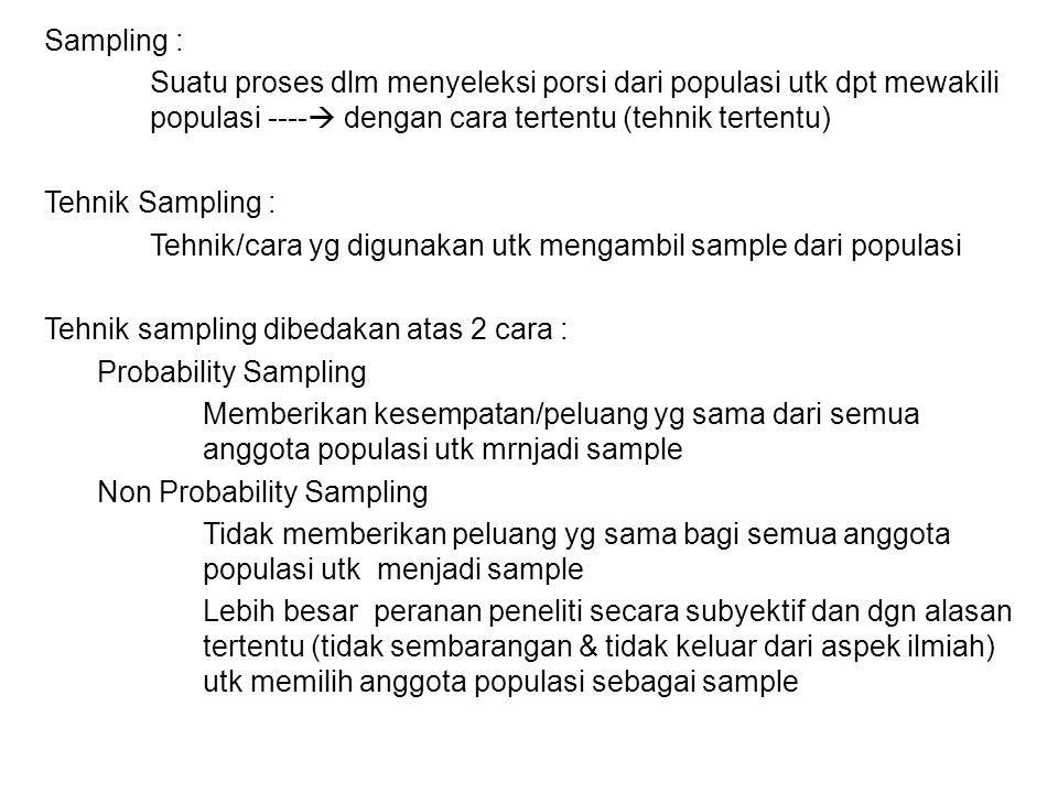 Sampling : Suatu proses dlm menyeleksi porsi dari populasi utk dpt mewakili populasi ----  dengan cara tertentu (tehnik tertentu) Tehnik Sampling : Tehnik/cara yg digunakan utk mengambil sample dari populasi Tehnik sampling dibedakan atas 2 cara : Probability Sampling Memberikan kesempatan/peluang yg sama dari semua anggota populasi utk mrnjadi sample Non Probability Sampling Tidak memberikan peluang yg sama bagi semua anggota populasi utk menjadi sample Lebih besar peranan peneliti secara subyektif dan dgn alasan tertentu (tidak sembarangan & tidak keluar dari aspek ilmiah) utk memilih anggota populasi sebagai sample