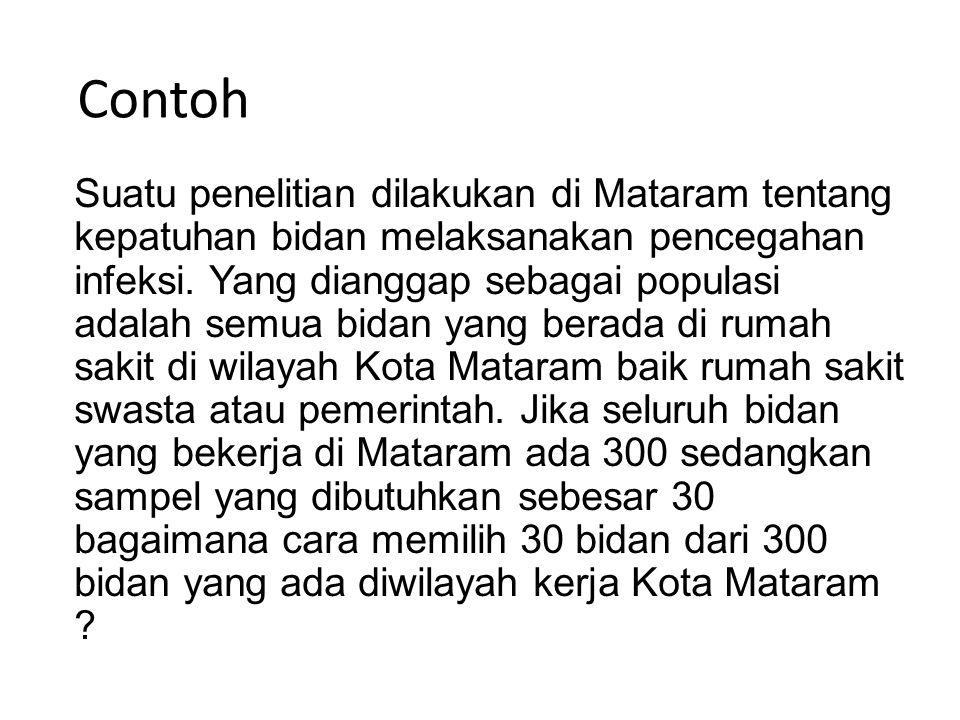 Contoh Suatu penelitian dilakukan di Mataram tentang kepatuhan bidan melaksanakan pencegahan infeksi. Yang dianggap sebagai populasi adalah semua bida