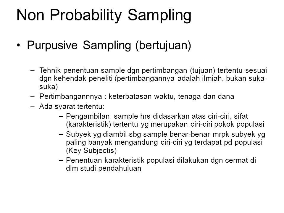 Non Probability Sampling Purpusive Sampling (bertujuan) –Tehnik penentuan sample dgn pertimbangan (tujuan) tertentu sesuai dgn kehendak peneliti (pertimbangannya adalah ilmiah, bukan suka- suka) –Pertimbangannnya : keterbatasan waktu, tenaga dan dana –Ada syarat tertentu: –Pengambilan sample hrs didasarkan atas ciri-ciri, sifat (karakteristik) tertentu yg merupakan ciri-ciri pokok populasi –Subyek yg diambil sbg sample benar-benar mrpk subyek yg paling banyak mengandung ciri-ciri yg terdapat pd populasi (Key Subjectis) –Penentuan karakteristik populasi dilakukan dgn cermat di dlm studi pendahuluan