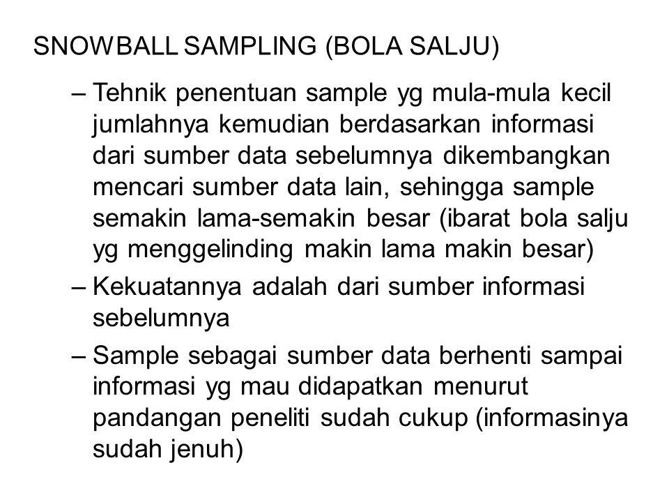 –Tehnik penentuan sample yg mula-mula kecil jumlahnya kemudian berdasarkan informasi dari sumber data sebelumnya dikembangkan mencari sumber data lain