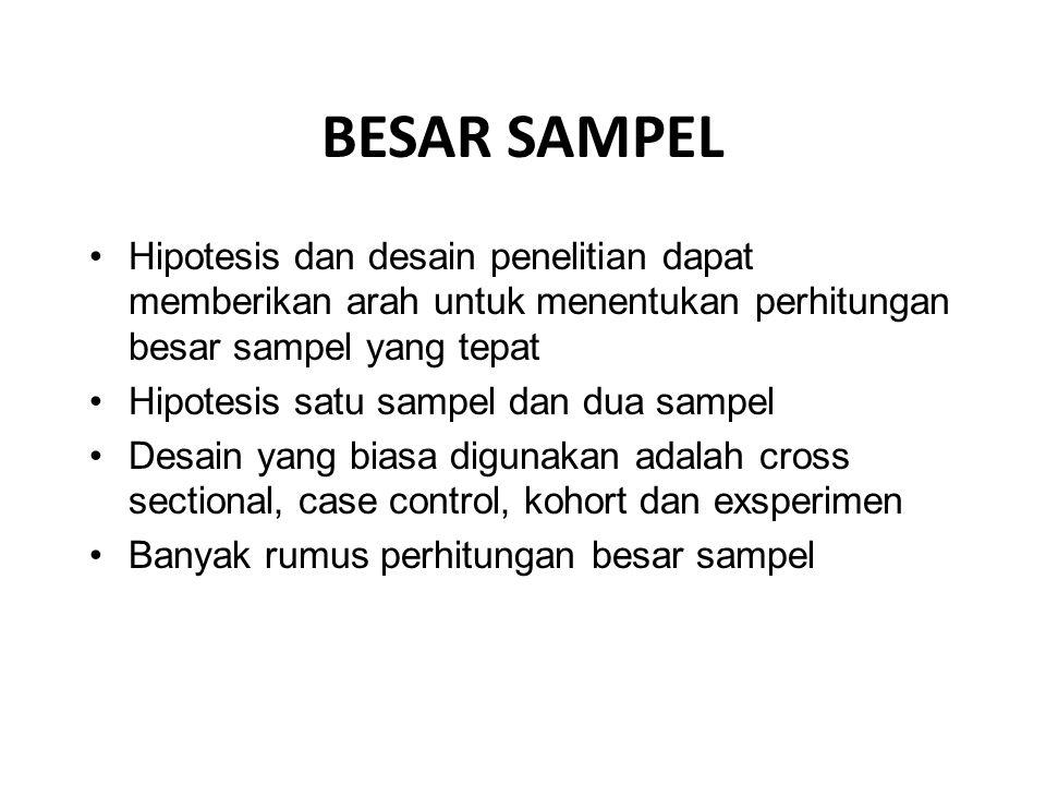 BESAR SAMPEL Hipotesis dan desain penelitian dapat memberikan arah untuk menentukan perhitungan besar sampel yang tepat Hipotesis satu sampel dan dua sampel Desain yang biasa digunakan adalah cross sectional, case control, kohort dan exsperimen Banyak rumus perhitungan besar sampel