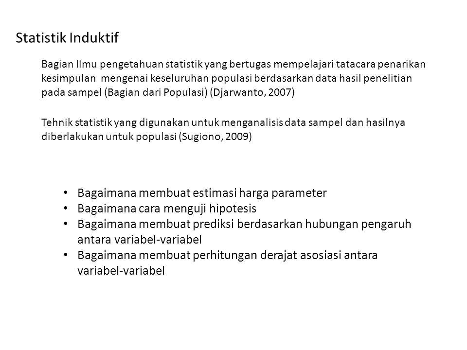 Statistik Induktif Bagian Ilmu pengetahuan statistik yang bertugas mempelajari tatacara penarikan kesimpulan mengenai keseluruhan populasi berdasarkan