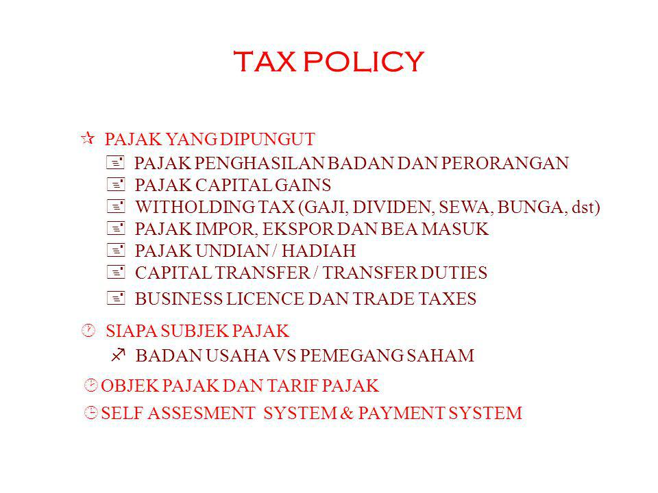 TAX PLANNING TAX POLICY TAX LAW TAX ADMNST ENTITAS BISNIS STRUKTUR TAX PLANNING