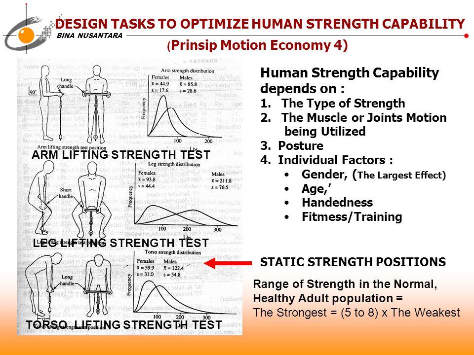 BINA NUSANTARA Human Strength Capability depends on : 1.
