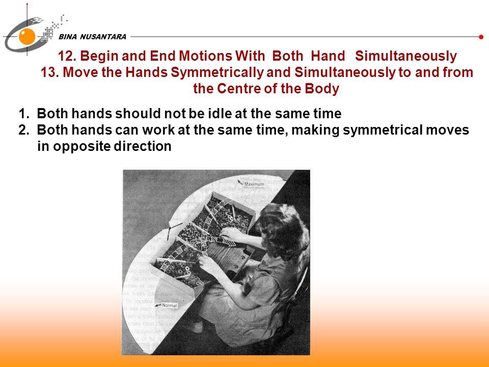 BINA NUSANTARA 12.Begin and End Motions With Both Hand Simultaneously 13.
