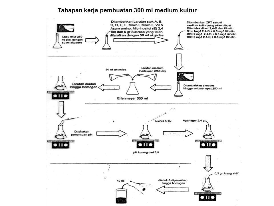 Tahapan kerja pembuatan 300 ml medium kultur