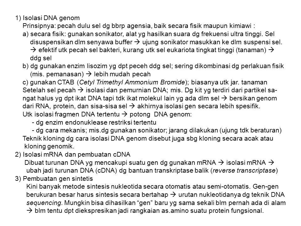 1) Isolasi DNA genom Prinsipnya: pecah dulu sel dg bbrp agensia, baik secara fisik maupun kimiawi : a) secara fisik: gunakan sonikator, alat yg hasilk