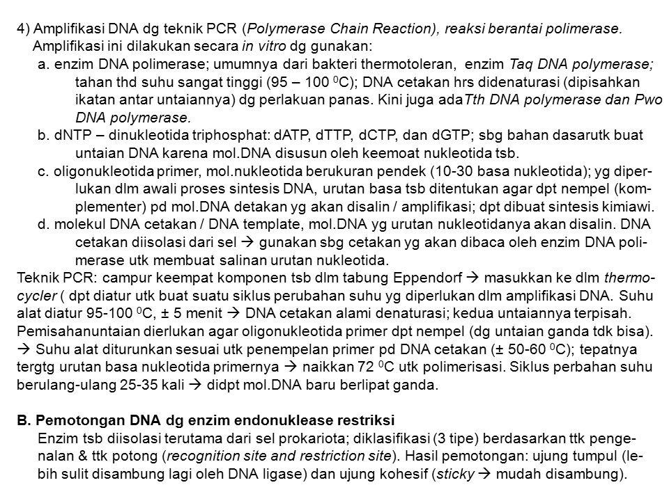 4) Amplifikasi DNA dg teknik PCR (Polymerase Chain Reaction), reaksi berantai polimerase. Amplifikasi ini dilakukan secara in vitro dg gunakan: a. enz