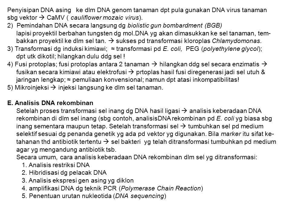 Penyisipan DNA asing ke dlm DNA genom tanaman dpt pula gunakan DNA virus tanaman sbg vektor  CaMV ( cauliflower mozaic virus). 2) Pemindahan DNA seca