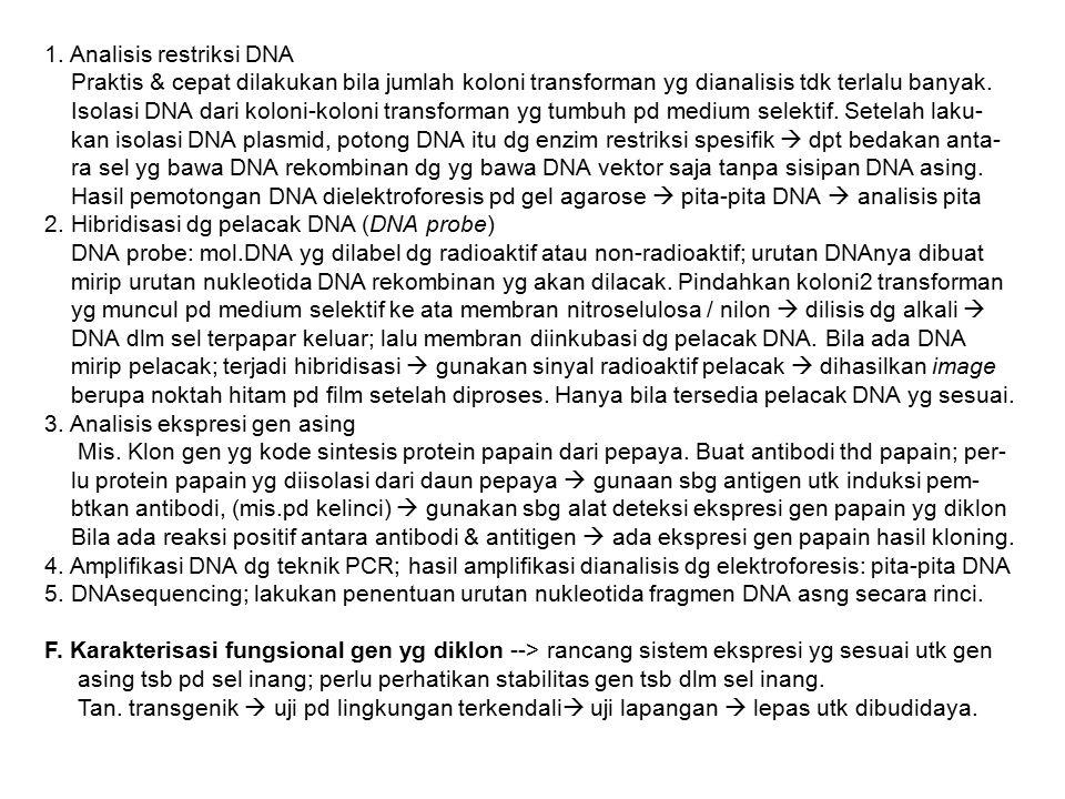 1. Analisis restriksi DNA Praktis & cepat dilakukan bila jumlah koloni transforman yg dianalisis tdk terlalu banyak. Isolasi DNA dari koloni-koloni tr