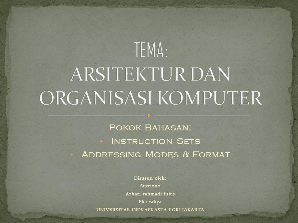 Pokok Bahasan: Instruction Sets Addressing Modes & Format Disusun oleh: Sutriono Azhari rahmadi lubis Eka cahya UNIVERSITAS INDRAPRASTA PGRI JAKARTA