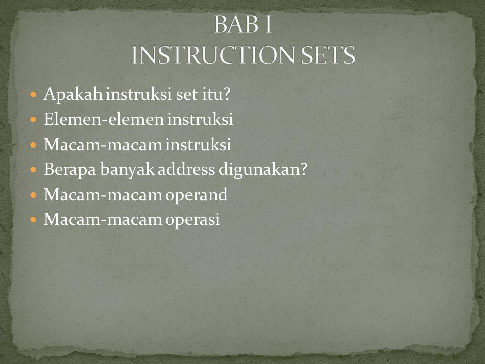 Apakah instruksi set itu? Elemen-elemen instruksi Macam-macam instruksi Berapa banyak address digunakan? Macam-macam operand Macam-macam operasi