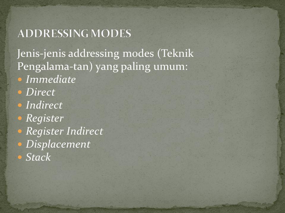 Jenis-jenis addressing modes (Teknik Pengalama-tan) yang paling umum: Immediate Direct Indirect Register Register Indirect Displacement Stack