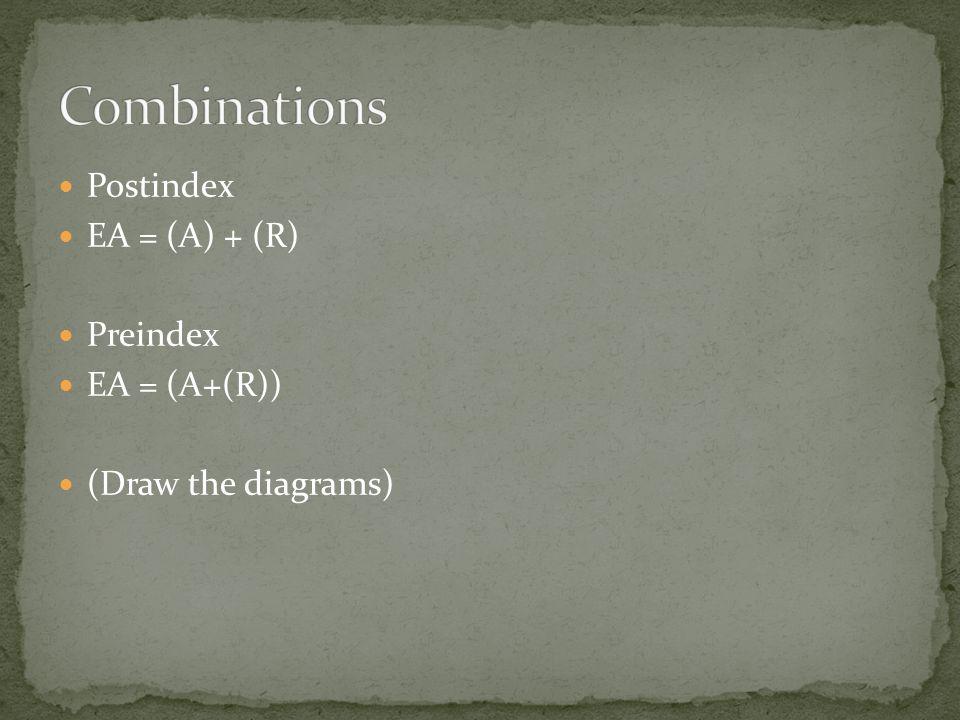 Postindex EA = (A) + (R) Preindex EA = (A+(R)) (Draw the diagrams)