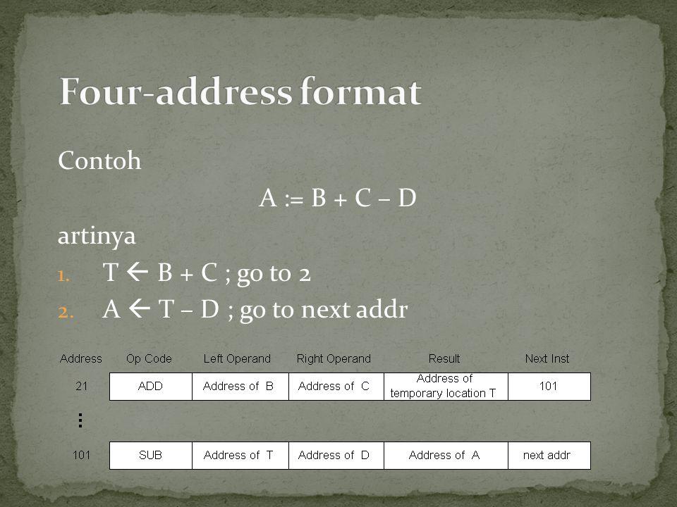 Contoh A := B + C – D artinya 1. T  B + C ; go to 2 2. A  T – D ; go to next addr
