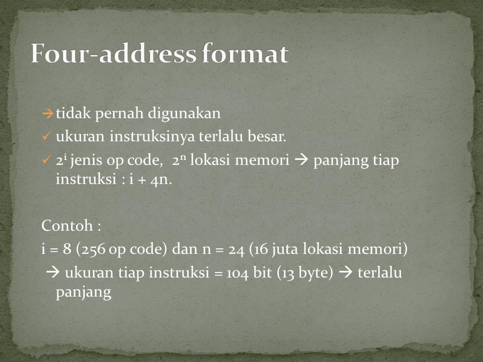  tidak pernah digunakan ukuran instruksinya terlalu besar. 2 i jenis op code, 2 n lokasi memori  panjang tiap instruksi : i + 4n. Contoh : i = 8 (25