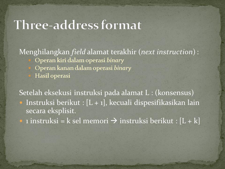 Menghilangkan field alamat terakhir (next instruction) : Operan kiri dalam operasi binary Operan kanan dalam operasi binary Hasil operasi Setelah eksekusi instruksi pada alamat L : (konsensus) Instruksi berikut : [L + 1], kecuali dispesifikasikan lain secara eksplisit.