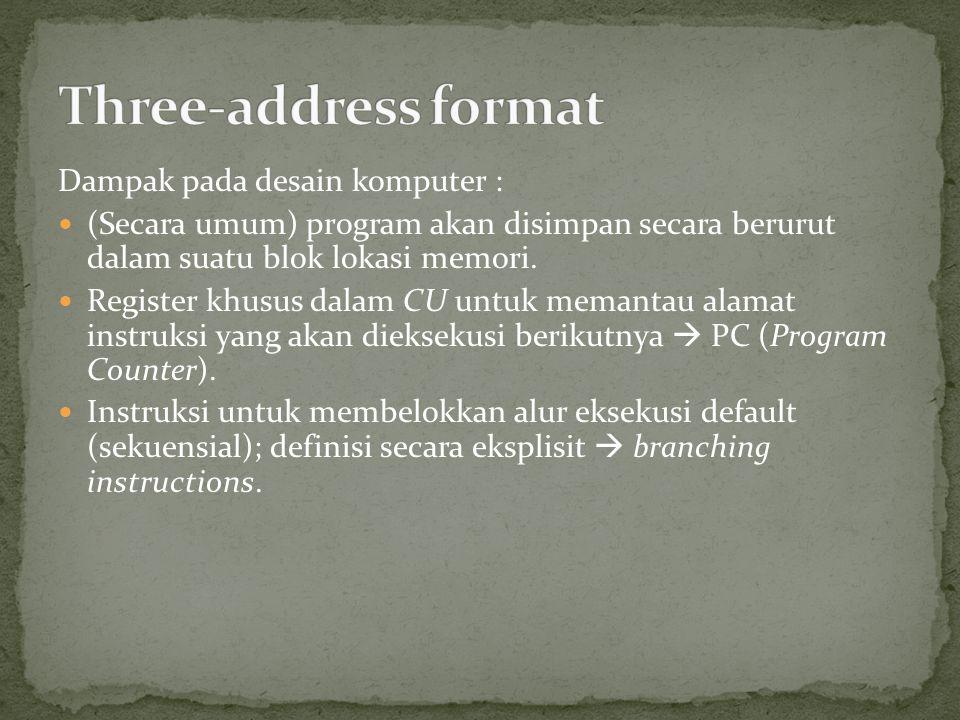 Dampak pada desain komputer : (Secara umum) program akan disimpan secara berurut dalam suatu blok lokasi memori. Register khusus dalam CU untuk memant