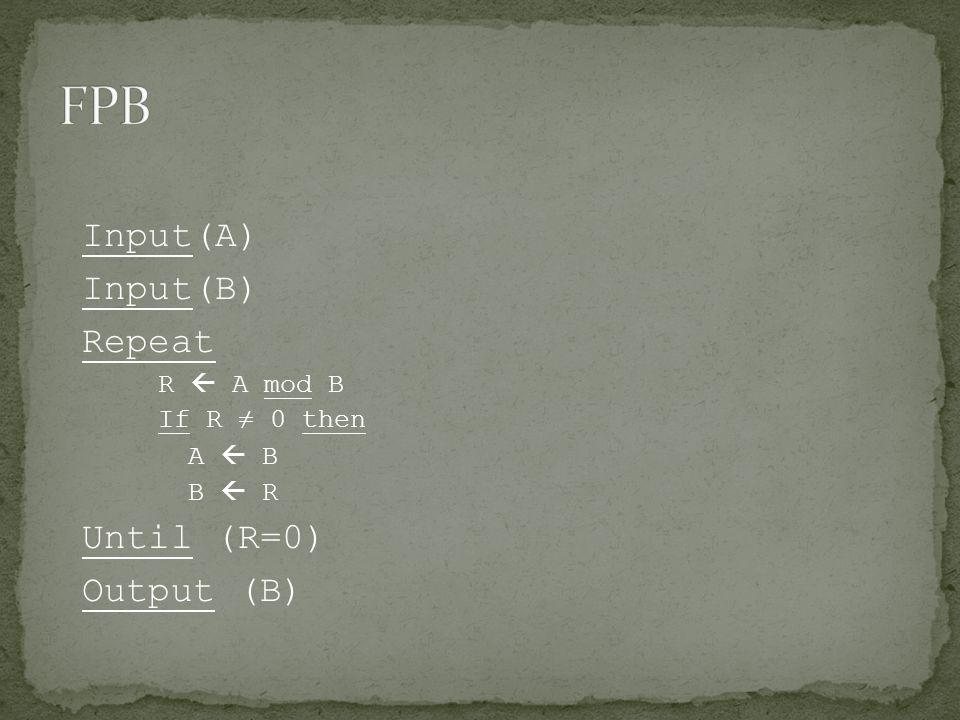Input(A) Input(B) Repeat R  A mod B If R ≠ 0 then A  B B  R Until (R=0) Output (B)