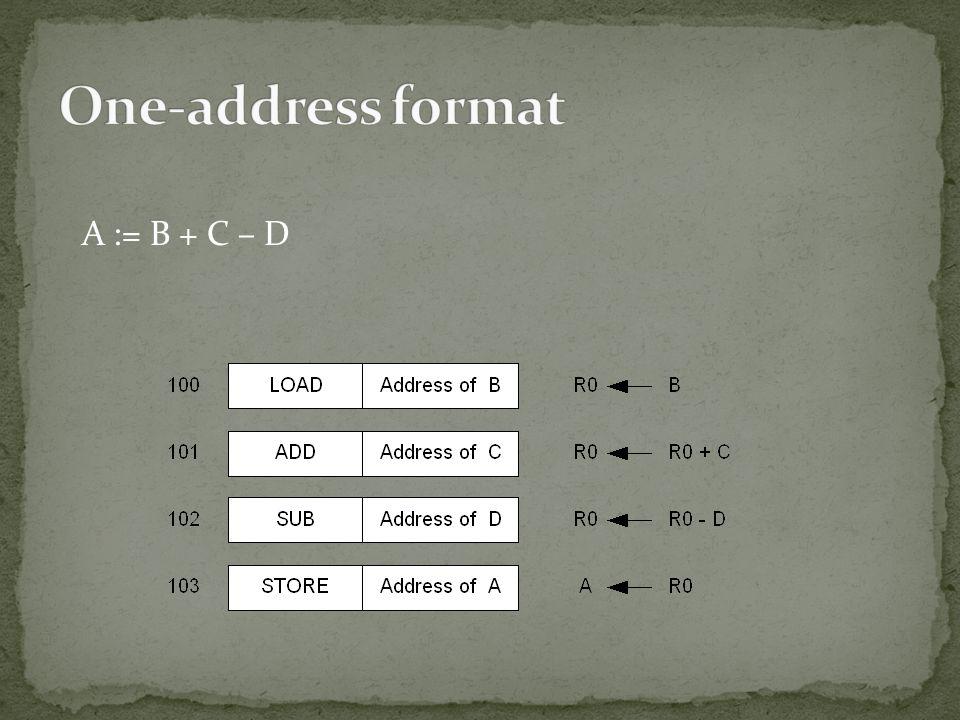 A := B + C – D