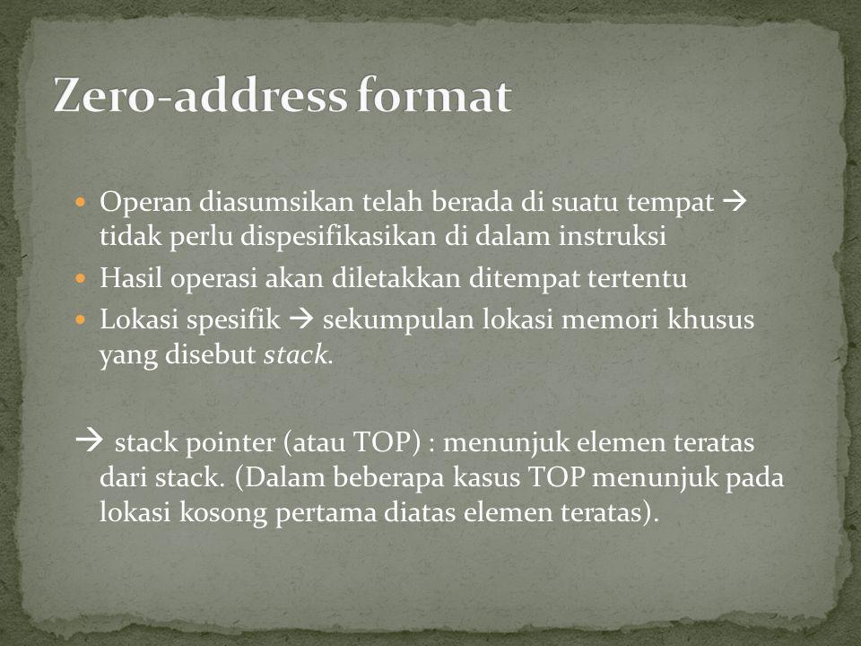 Operan diasumsikan telah berada di suatu tempat  tidak perlu dispesifikasikan di dalam instruksi Hasil operasi akan diletakkan ditempat tertentu Lokasi spesifik  sekumpulan lokasi memori khusus yang disebut stack.
