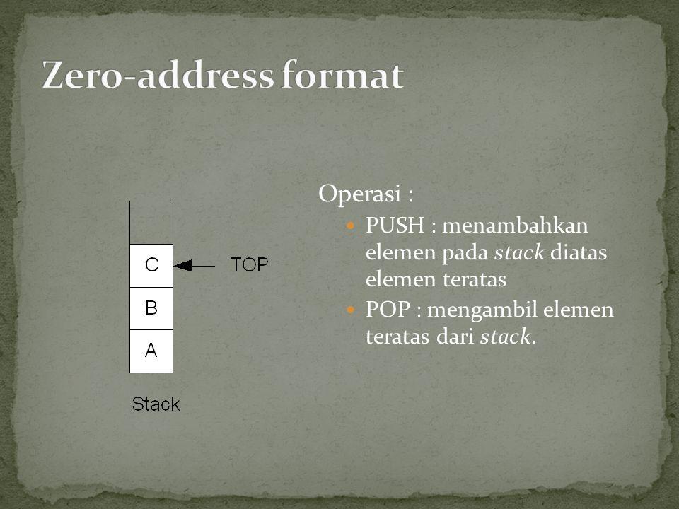 Operasi : PUSH : menambahkan elemen pada stack diatas elemen teratas POP : mengambil elemen teratas dari stack.