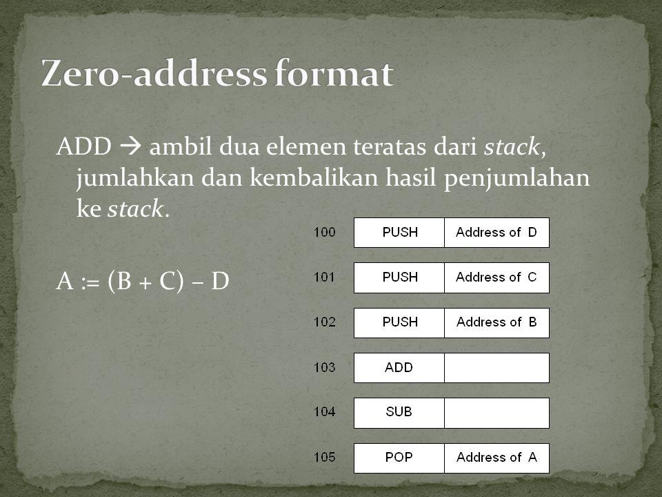 ADD  ambil dua elemen teratas dari stack, jumlahkan dan kembalikan hasil penjumlahan ke stack. A := (B + C) – D