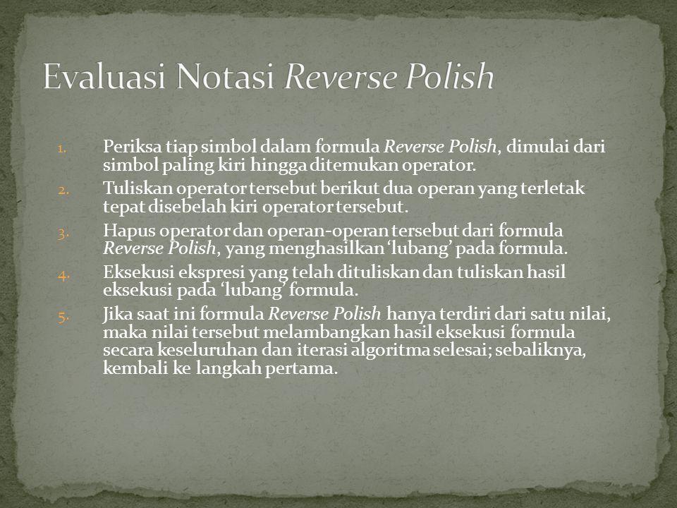 1. Periksa tiap simbol dalam formula Reverse Polish, dimulai dari simbol paling kiri hingga ditemukan operator. 2. Tuliskan operator tersebut berikut