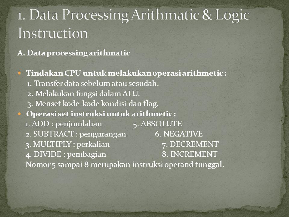 A. Data processing arithmatic Tindakan CPU untuk melakukan operasi arithmetic : 1. Transfer data sebelum atau sesudah. 2. Melakukan fungsi dalam ALU.