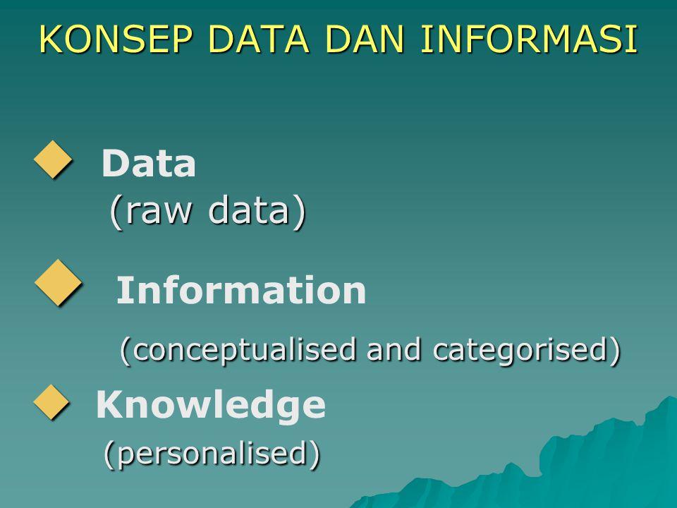 KONSEP DATA DAN INFORMASI KONSEP DATA DAN INFORMASI   Data (raw data) (raw data)   Information (conceptualised and categorised) (conceptualised an
