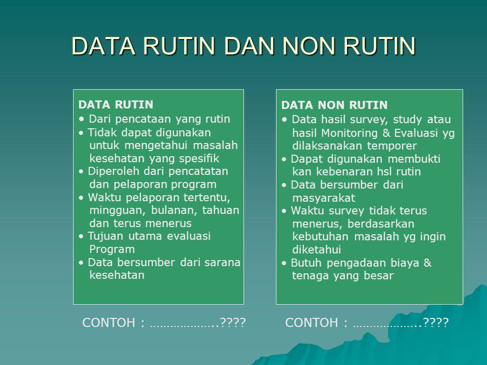 DATA RUTIN DAN NON RUTIN DATA RUTIN Dari pencataan yang rutin Tidak dapat digunakan untuk mengetahui masalah kesehatan yang spesifik Diperoleh dari pe
