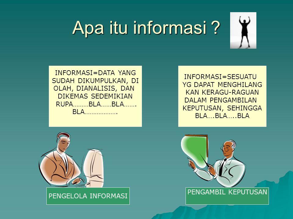Apa itu informasi ? INFORMASI=DATA YANG SUDAH DIKUMPULKAN, DI OLAH, DIANALISIS, DAN DIKEMAS SEDEMIKIAN RUPA………BLA……BLA……. BLA………………. INFORMASI=SESUATU