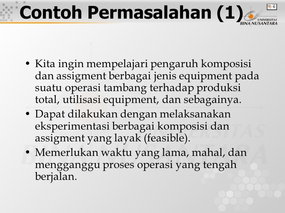 Kita ingin mempelajari pengaruh komposisi dan assigment berbagai jenis equipment pada suatu operasi tambang terhadap produksi total, utilisasi equipment, dan sebagainya.