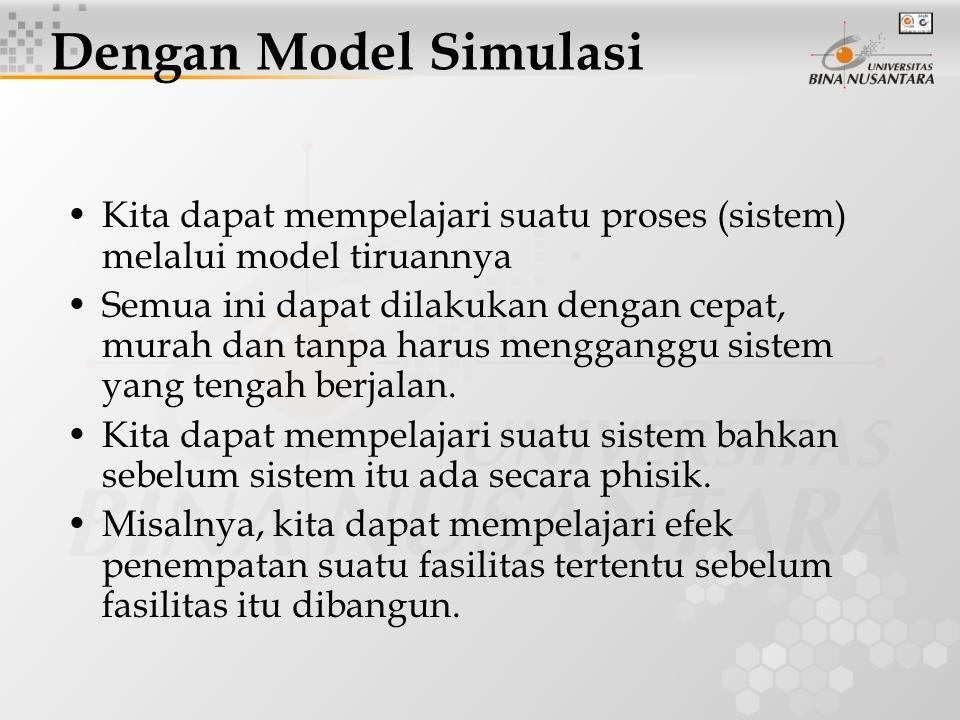 Kita dapat mempelajari suatu proses (sistem) melalui model tiruannya Semua ini dapat dilakukan dengan cepat, murah dan tanpa harus mengganggu sistem yang tengah berjalan.