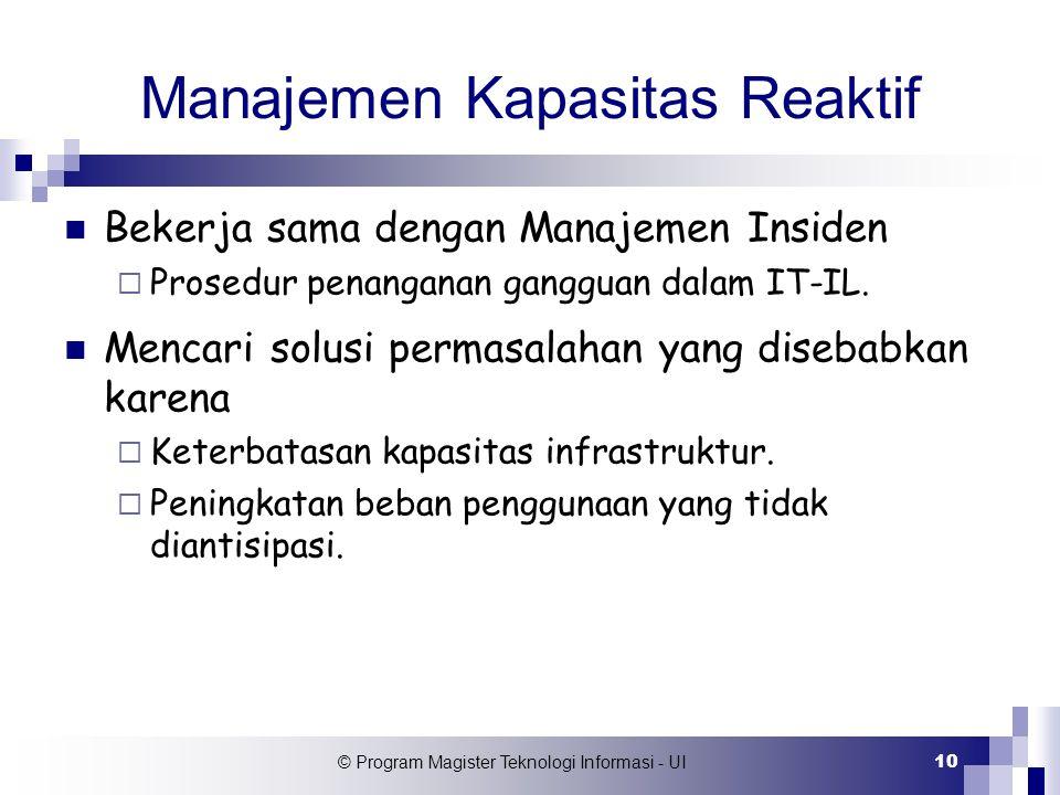 © Program Magister Teknologi Informasi - UI 10 Manajemen Kapasitas Reaktif Bekerja sama dengan Manajemen Insiden  Prosedur penanganan gangguan dalam