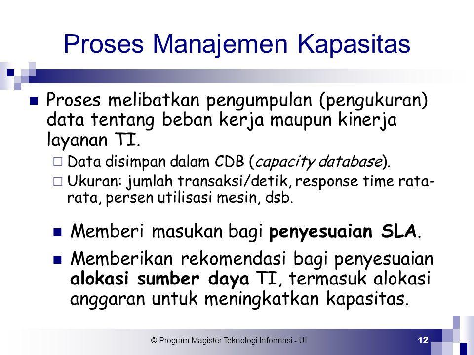 © Program Magister Teknologi Informasi - UI 12 Proses Manajemen Kapasitas Proses melibatkan pengumpulan (pengukuran) data tentang beban kerja maupun k