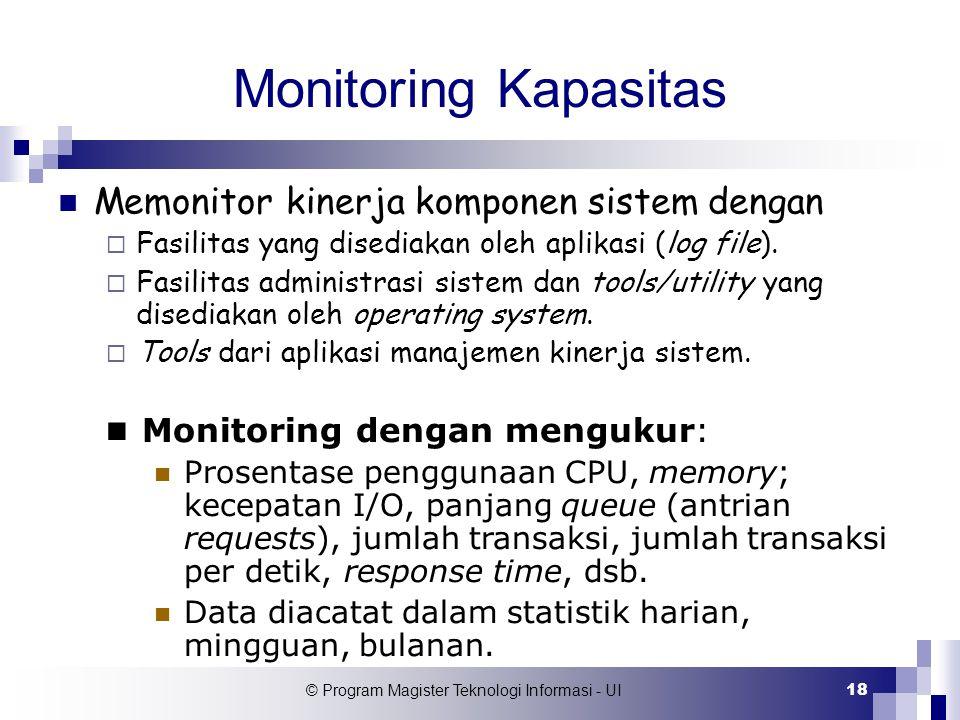 © Program Magister Teknologi Informasi - UI 18 Monitoring Kapasitas Memonitor kinerja komponen sistem dengan  Fasilitas yang disediakan oleh aplikasi