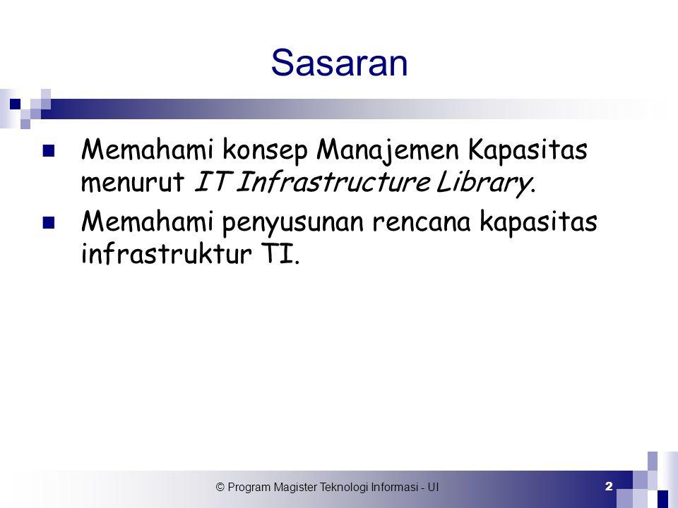 © Program Magister Teknologi Informasi - UI 2 Sasaran Memahami konsep Manajemen Kapasitas menurut IT Infrastructure Library. Memahami penyusunan renca