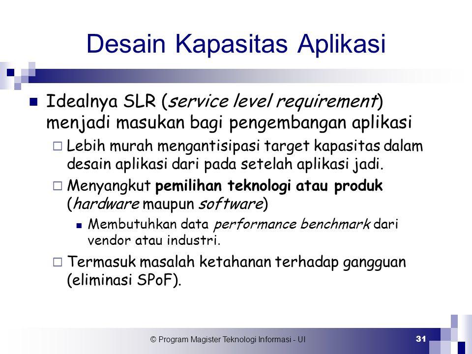 © Program Magister Teknologi Informasi - UI 31 Desain Kapasitas Aplikasi Idealnya SLR (service level requirement) menjadi masukan bagi pengembangan ap