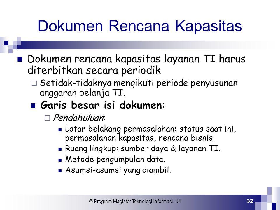 © Program Magister Teknologi Informasi - UI 32 Dokumen Rencana Kapasitas Dokumen rencana kapasitas layanan TI harus diterbitkan secara periodik  Seti