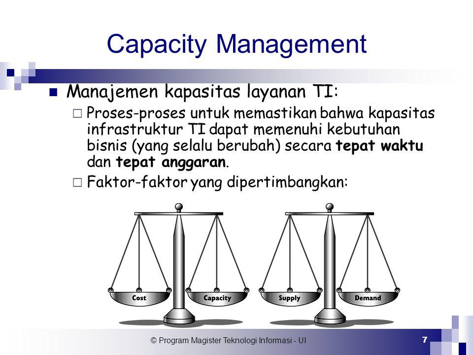 © Program Magister Teknologi Informasi - UI 18 Monitoring Kapasitas Memonitor kinerja komponen sistem dengan  Fasilitas yang disediakan oleh aplikasi (log file).
