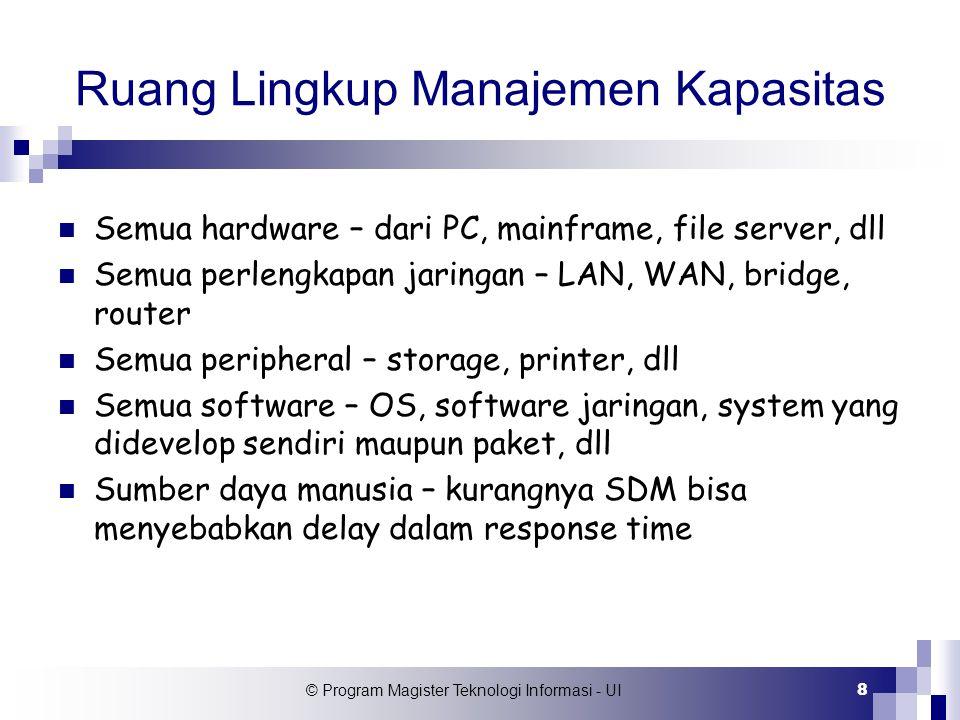 © Program Magister Teknologi Informasi - UI 8 Ruang Lingkup Manajemen Kapasitas Semua hardware – dari PC, mainframe, file server, dll Semua perlengkap