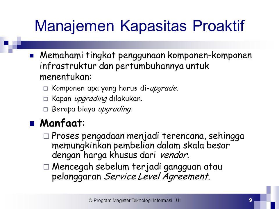 © Program Magister Teknologi Informasi - UI 20 Analisa Hasil Pengukuran Data hasil monitoring selain digunakan untuk menentukan baseline, juga trend peningkat- an/penurunan beban layanan.