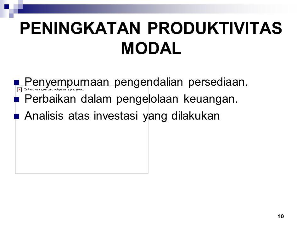 10 PENINGKATAN PRODUKTIVITAS MODAL Penyempurnaan pengendalian persediaan. Perbaikan dalam pengelolaan keuangan. Analisis atas investasi yang dilakukan