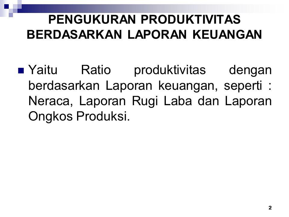 2 Yaitu Ratio produktivitas dengan berdasarkan Laporan keuangan, seperti : Neraca, Laporan Rugi Laba dan Laporan Ongkos Produksi. PENGUKURAN PRODUKTIV
